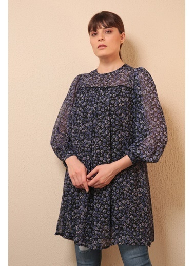 Reyon Çiçek Desenli Şifon Elbise Lacivert Lacivert